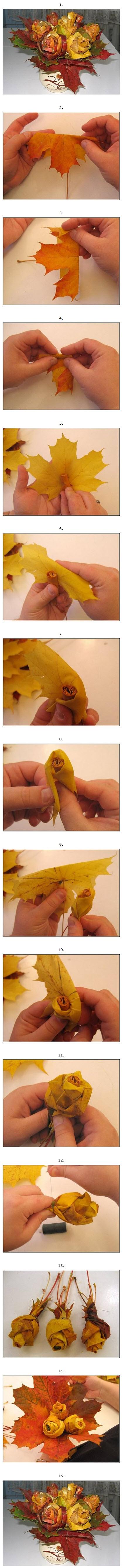 как сделать цветок из кленовых листьев своими руками
