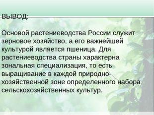 ВЫВОД: Основой растениеводства России служит зерновое хозяйство, а его важней