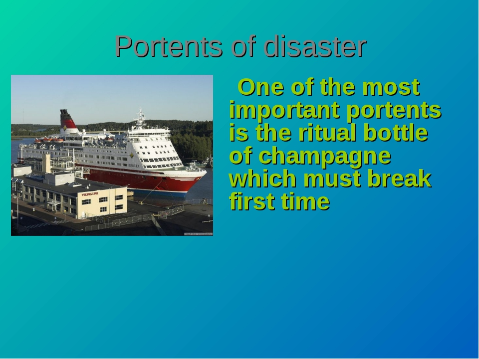 Portents of disaster One of the most important portents is the ritual bottle...