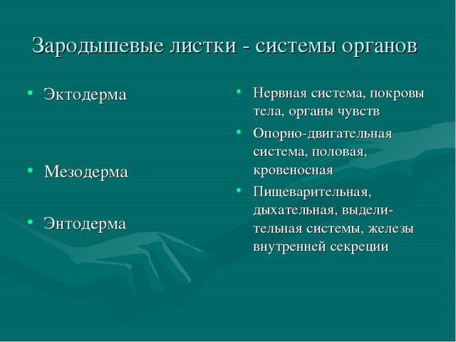Зародышевые листки - системы органов Эктодерма Мезодерма Энтодерма Нервная си...