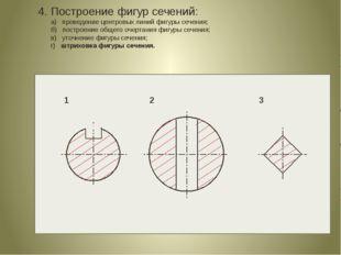 4. Построение фигур сечений: а) проведение центровых линий фигуры сечения; б)