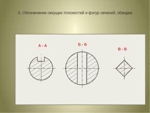5. Обозначение секущих плоскостей и фигур сечений, обводка. А - А Б - Б В - В