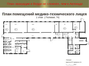 План помещений медико-технического лицея 1 этаж ( Полевая, 74) План эвакуации