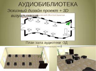 План зала аудиотеки -3Д (в программе планировщика- ИКЕЯ) АУДИОБИБЛИОТЕКА Эск