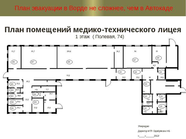 План помещений медико-технического лицея 1 этаж ( Полевая, 74) План эвакуации...