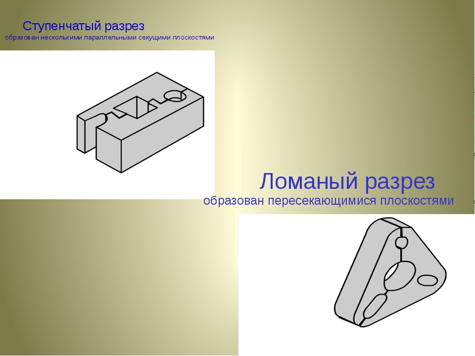 Ступенчатый разрез образован несколькими параллельными секущими плоскостями...