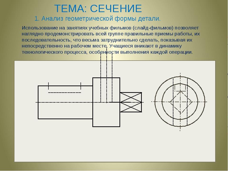 ТЕМА: СЕЧЕНИЕ 1. Анализ геометрической формы детали. Использование на заняти...