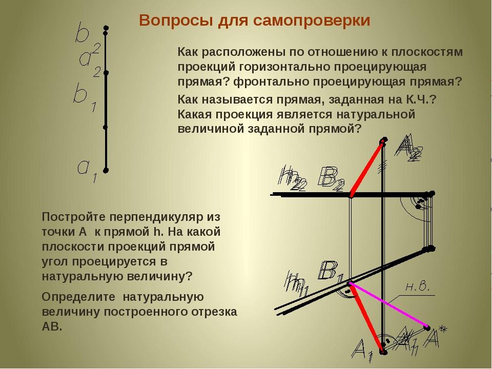 Вопросы для самопроверки Как расположены по отношению к плоскостям проекций г...
