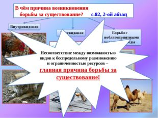 В чём причина возникновения борьбы за существование? с.82, 2-ой абзац Несоот