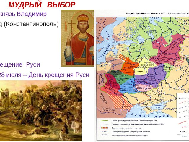 МУДРЫЙ ВЫБОР Киевский князь Владимир Царьград (Константинополь) 988 г. – кре...