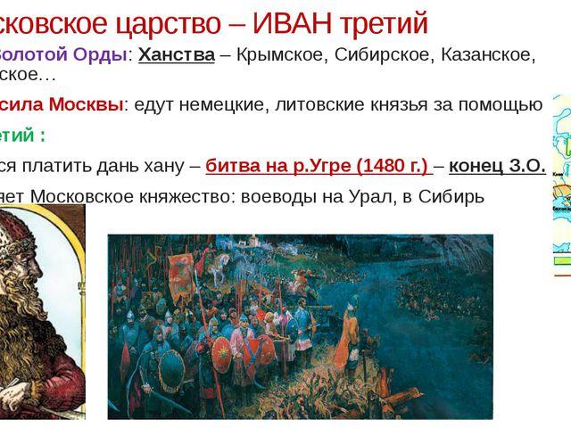 Московское царство – ИВАН третий Распад Золотой Орды: Ханства – Крымское, Си...