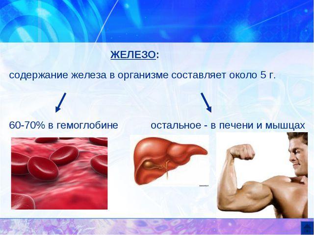 ЖЕЛЕЗО: содержание железа в организме составляет около 5 г. 60-70% в гемоглоб...
