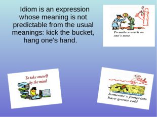 Idiom is an expression whose meaning is not predictable from the usual meanin