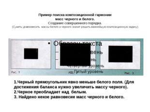 Пример поиска композиционной гармонии масс черного и белого. Создание соверше