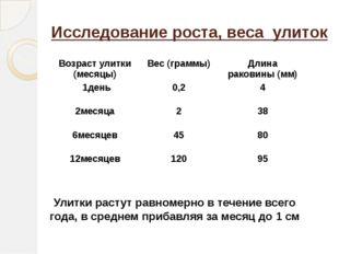 Исследование роста, веса улиток Улитки растут равномерно в течение всего года