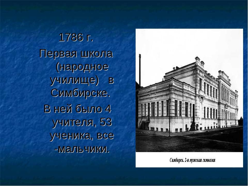 1786 г. Первая школа (народное училище) в Симбирске. В ней было 4 учителя, 53...