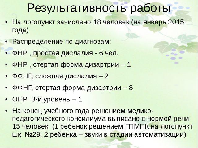 Результативность работы На логопункт зачислено 18 человек (на январь 2015 год...