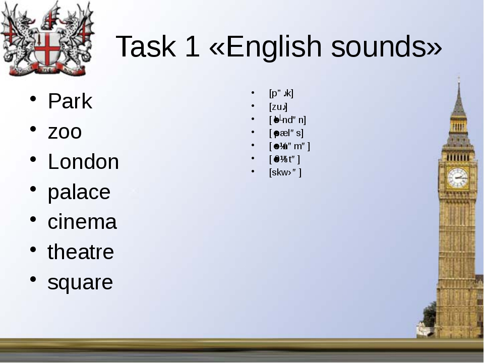 Task 1 «English sounds» Park zoo London palace cinema theatre square...