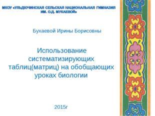 Бухаевой Ирины Борисовны Использование систематизирующих таблиц(матриц) на о