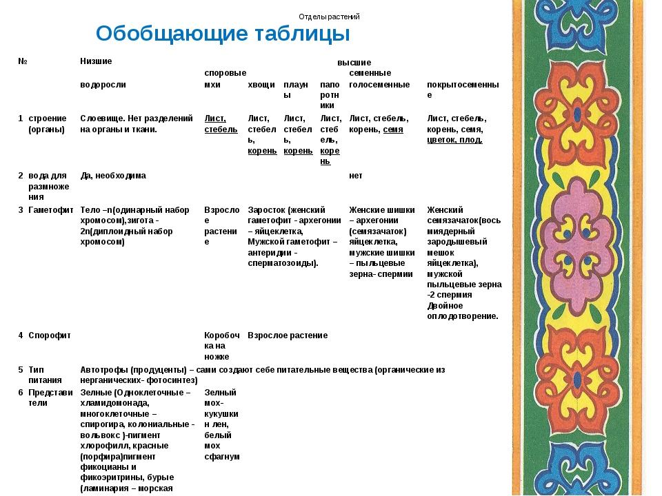 Обобщающие таблицы Отделы растений №Низшиевысшие споровыесеменные водор...