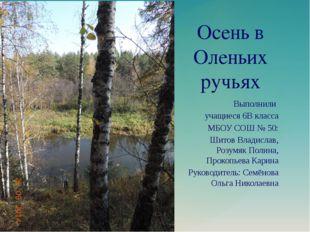 Осень в Оленьих ручьях Выполнили учащиеся 6В класса МБОУ СОШ № 50: Шитов Влад
