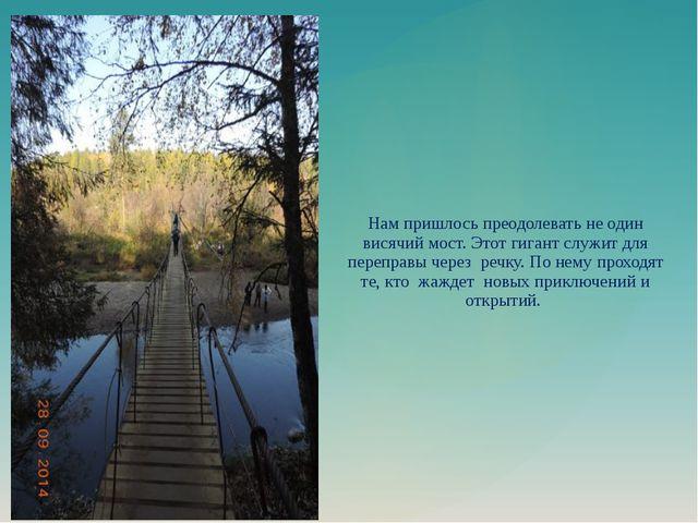 Нам пришлось преодолевать не один висячий мост. Этот гигант служит для перепр...