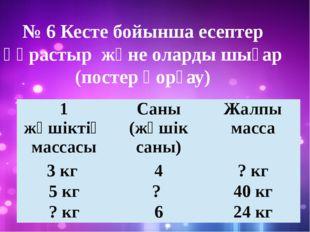 № 6 Кесте бойынша есептер құрастыр және оларды шығар (постер қорғау) 1 жәшікт
