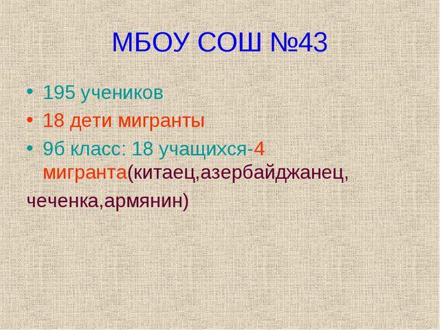 МБОУ СОШ №43 195 учеников 18 дети мигранты 9б класс: 18 учащихся-4 мигранта(к...