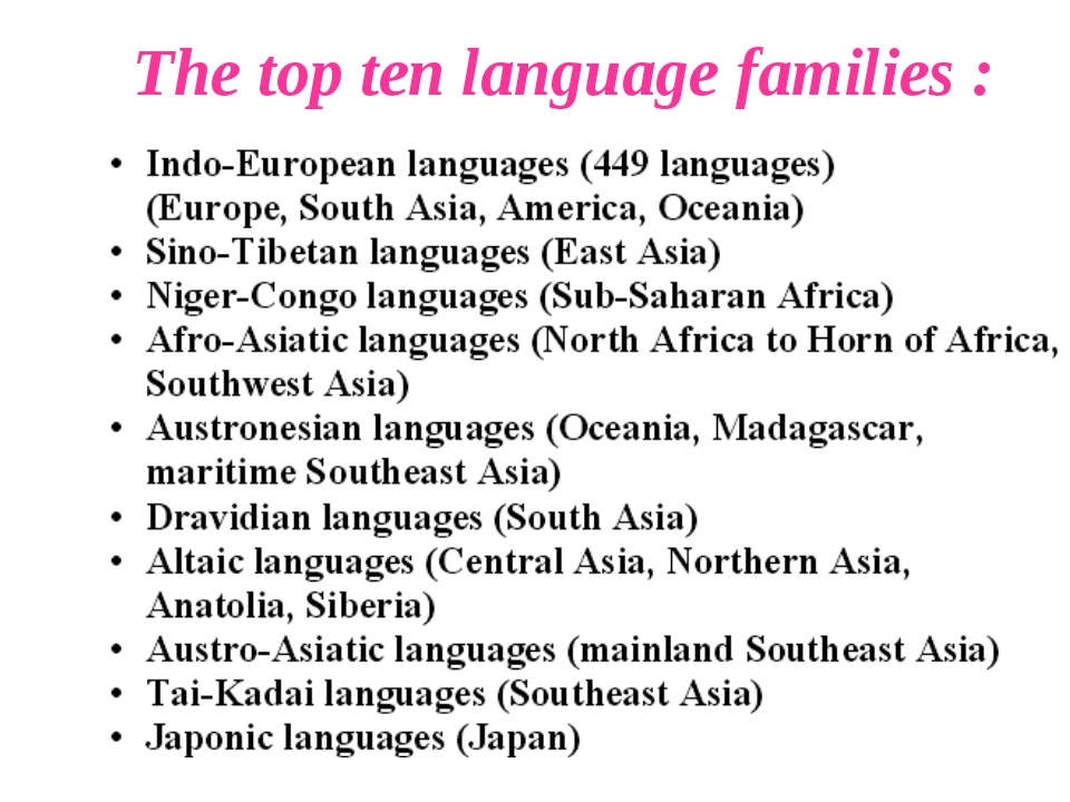 The top ten language families :