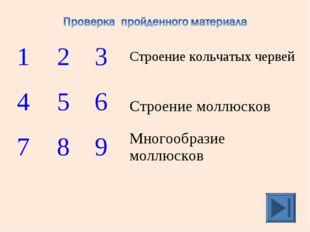 1 2 3Строение кольчатых червей 4 5 6 Строение моллюсков 7 8 9Многоо