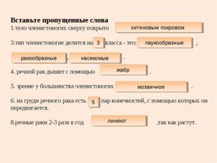 Вставьте пропущенные слова 1.тело членистоногих сверху покрыто 3.тип членисто