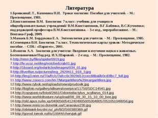 Литература БровкинаЕ.Т., Казимина Н.И. Уроки зоологии: Пособие для учителей.