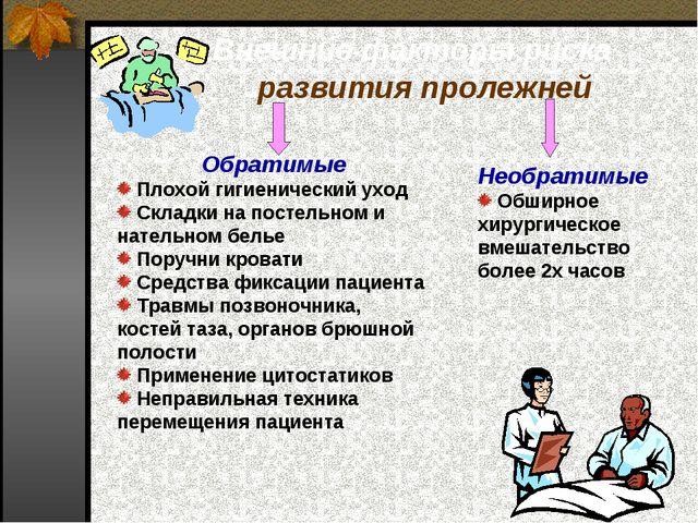 Внешние факторы риска развития пролежней Обратимые Плохой гигиенический уход...