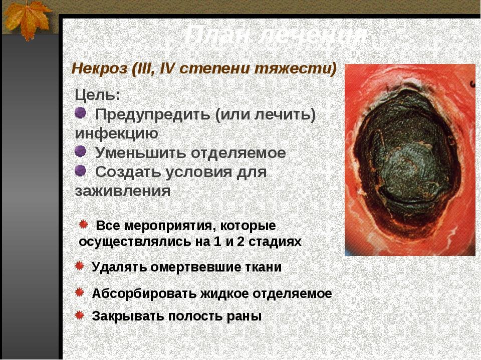 План лечения Некроз (III, IV степени тяжести) Цель: Предупредить (или лечить)...