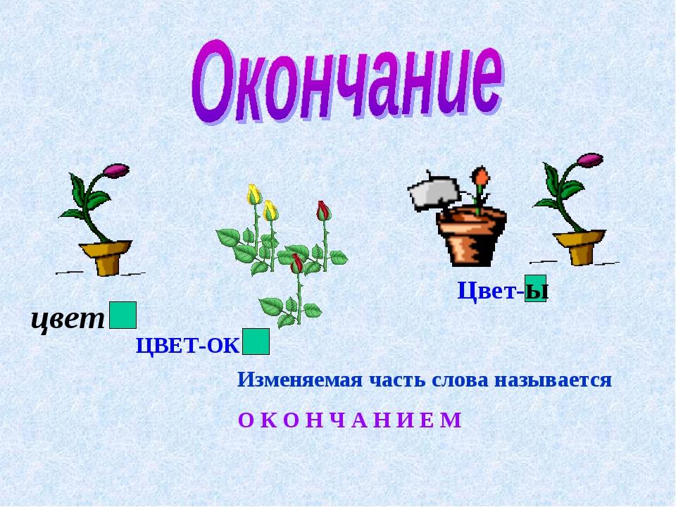 ЦВЕТ-ОК Цвет-ы Изменяемая часть слова называется О К О Н Ч А Н И Е М цвет