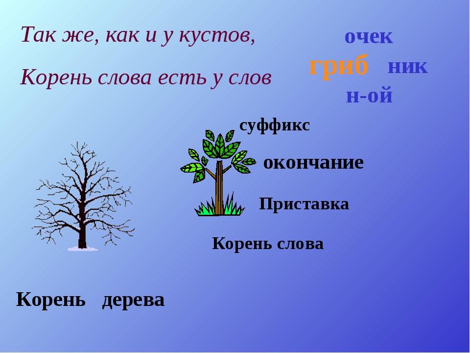 Корень дерева Корень слова Приставка суффикс окончание гриб н-ой ник очек Так...