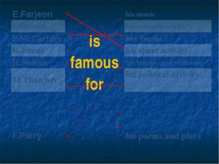 E.Farjeon is famous for his music I.Newton hisscientificworks P.McCartney he