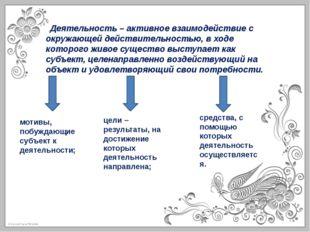 Деятельность – активное взаимодействие с окружающей действительностью, в ход