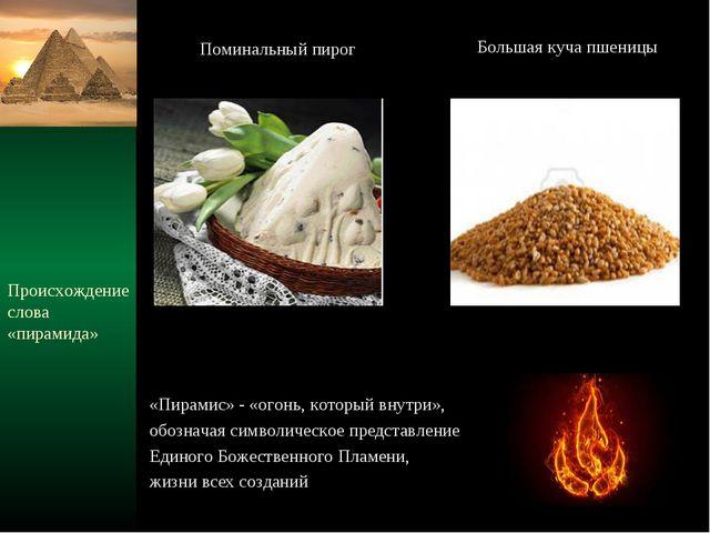 Происхождение слова «пирамида» «Пирамис» - «огонь, который внутри», обозначая...