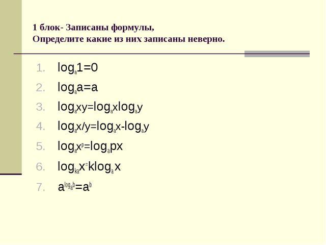 1 блок- Записаны формулы, Определите какие из них записаны неверно. loga1=0 l...