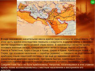 В ходе завоевания значительная масса арабов переселилась на новые земли. При