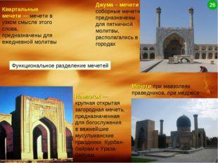 Функциональное разделение мечетей Квартальные мечети— мечети в узком смысле