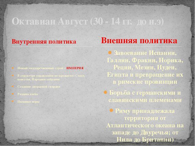 Внутренняя политика Новый государственный строй – ИМПЕРИЯ В структуре управле...