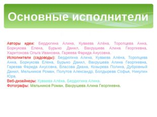 Основные исполнители проекта: Авторы идеи: Бердюгина Алина, Куваева Алёна, То
