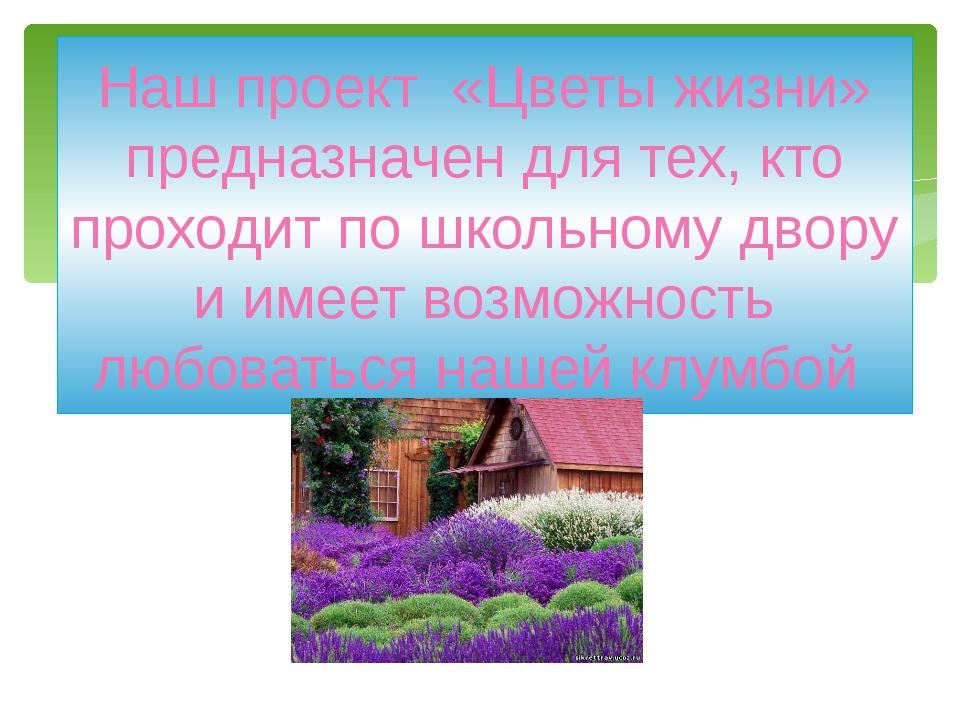 Наш проект «Цветы жизни» предназначен для тех, кто проходит по школьному двор...