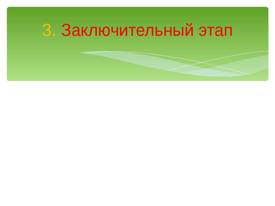 3. Заключительный этап