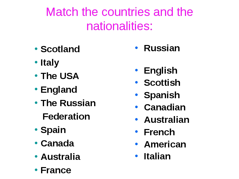 Match the countries and the nationalities: Russian English Scottish Spanish C...
