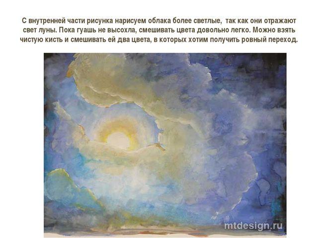С внутренней части рисунка нарисуем облака более светлые, так как они отража...