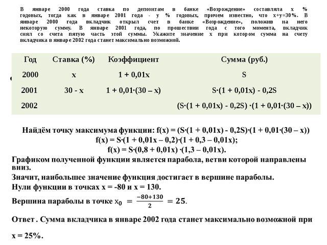 В январе 2000 года ставка по депозитам в банке «Возрождение» составляла х % г...