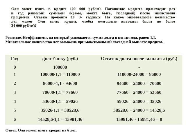 Оля хочет взять в кредит 100 000 рублей. Погашение кредита происходит раз в г...
